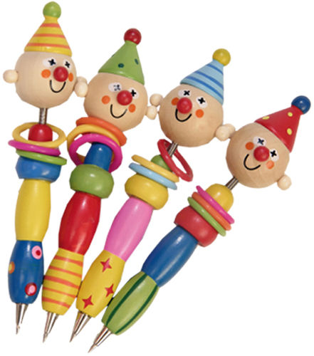 "Set da 4 penne assortite ""Allegri Clown"" per bambini , in legno"