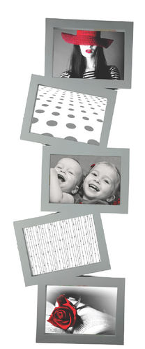 "Picture frame, ""Story"", 5 places for photo, pvc, silver  color , cm 75x27x2"