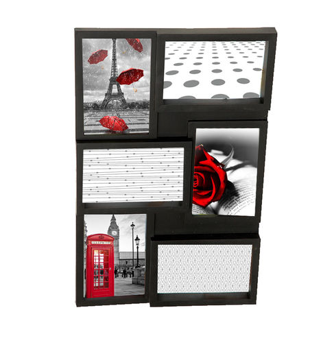 "Picture frame ""Love"", 6 places for photo, in pvc, color black cm 44x28"