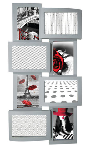 "Picture frame ""Love"", 8 places for photo, in pvc, color silver cm 58x30"