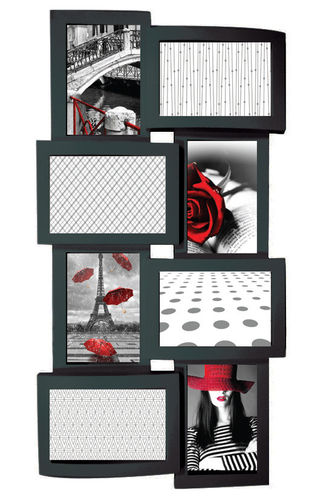"Picture frame ""Love"", 8 places for photo, in pvc, color black cm 58x30"