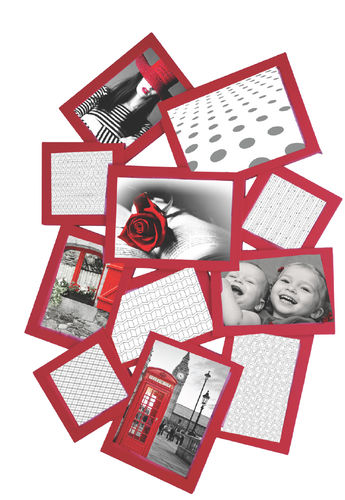 "Picture frame, ""Happy"", 11 seats, red color, pvc, cm 63x43"