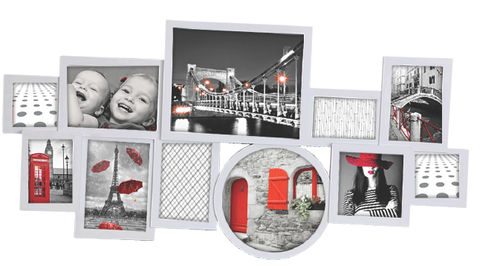 "Picture frame ""Space"" in Pvc 11 place photos, color silver, cm 87x44"