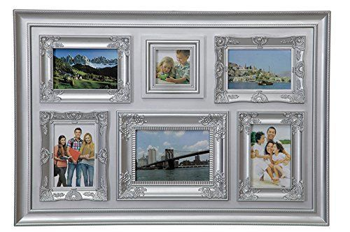 Picture frame, CLASSIC, silver pvc, 6 places for photo, cm 70x48