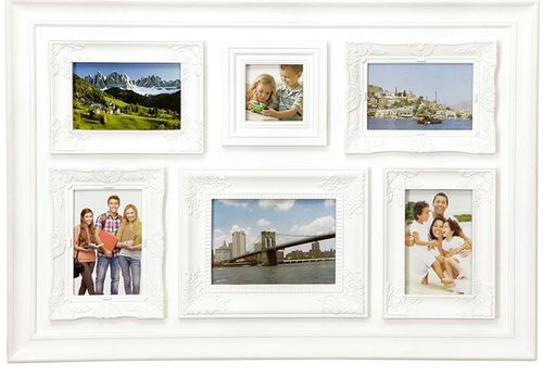 Picture frame, CLASSIC, white pvc, 6 places for photo, cm 70x48