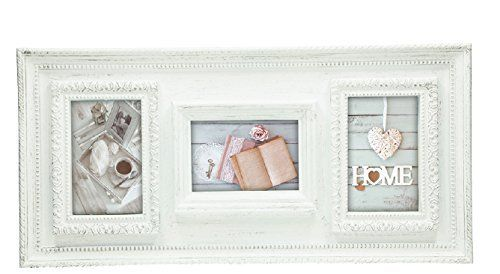 "Picture frame, ""Classic"", shabby chic, 3 places for photo, wooden effect pvc, cm 56x26"