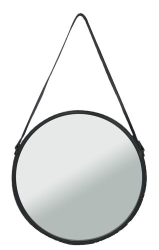 "Round wall mirror ""Kuze"", iron border with leather belt, cm 40.5x3"