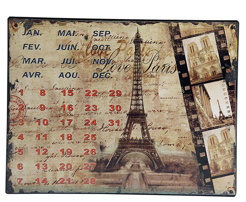 "UNIVERSAL CALENDAR, VINTAGE STYLE, ""PARIS"", FROM WALL, CM 25X33"