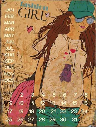 "UNIVERSAL CALENDAR, VINTAGE STYLE, ""FASHION GIRL"", FROM WALL, CM 25X33"