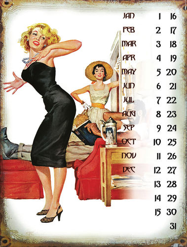 "UNIVERSAL CALENDAR, VINTAGE STYLE, ""WOMEN"", FROM WALL, CM 25X33"