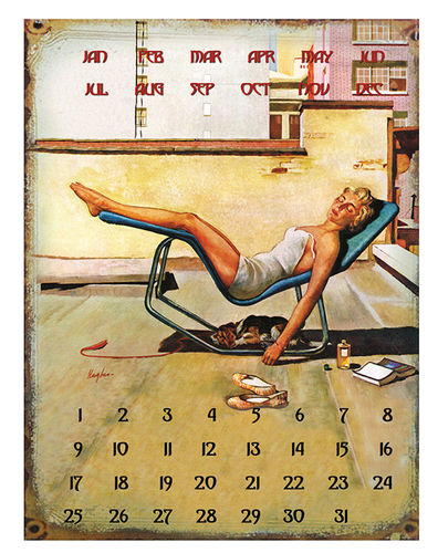 "UNIVERSAL CALENDAR, VINTAGE STYLE, ""RELAX"", FROM WALL, CM 25X33"