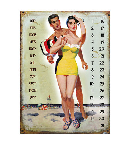 "UNIVERSAL CALENDAR, VINTAGE STYLE, ""LOVE"", FROM WALL, CM 25X33"