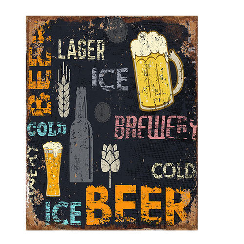 "TIN PLATE, VINTAGE STYLE, ""BEER"" CM 20X25"