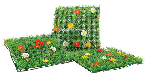 Artificial grass tile with flowers, for shop window decoration and home, 25x25 cm