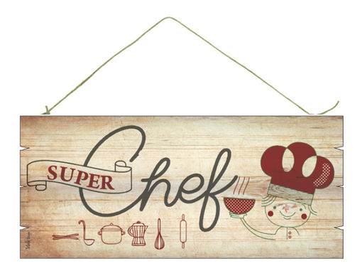 "Targa decoro in legno , ""SUPER CHEF"", cm 18x8"